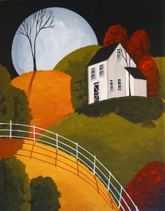 Original Painting Folk Art Landscape Autumn Fall Full Moon House Red Gold Trees | eBay
