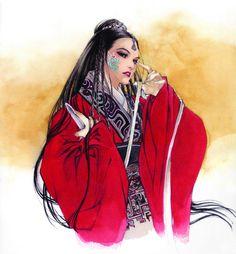 Art of woman with dagger & face paint by manga artist Natsuki Sumeragi.