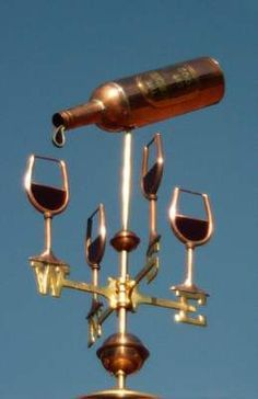 Pouring Wine Bottle Weather Vane by West Coast Weather Vanes. Pouring Wine, Weather Vanes, Weather Forecast, Wine Decor, Wine Art, Wine O Clock, In Vino Veritas, Wine Time, Wine Cellar