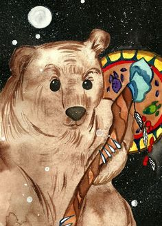 """This is listing of my original painting called """"Bear shaman"""". In myths of Siberia, Native America and ancient Finland bear has always been worshiped, respected and feared animal. Bear has been king of the forest and also a wise shaman. Original Paintings For Sale, Buy Paintings, Original Art, Watercolor Paintings Nature, Watercolor Animals, Watercolor Paper, Watercolors, Native American Legends, Brown Art"""
