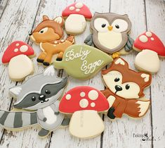 New Ideas For Baby Shower Cookies Woodland Leaf Cookies, Owl Cookies, Baby Cookies, Baby Shower Cookies, Sugar Cookies, Fondant Cookies, Flower Cookies, Valentine Cookies, Easter Cookies
