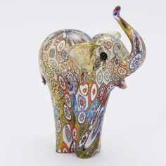 Murano Glass Figurines | Golden Quilt Millefiori Murano Glass Elephant