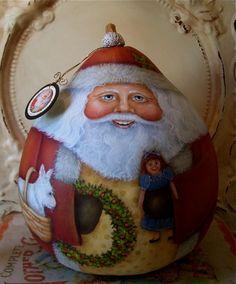 Santa Folk Art Christmas Original One of a kind Hand Painted Gourd with West Highland Terrier. $135.00, via Etsy.