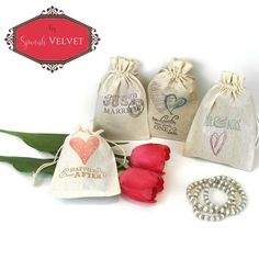 Wedding Party Favor Bags Pouches- Perfect for the bridesmaids or as a gift for your guests. Just Married, Love, Heart.
