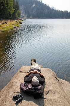 Taking a nap on the shores of Boulder Lake, Idaho.