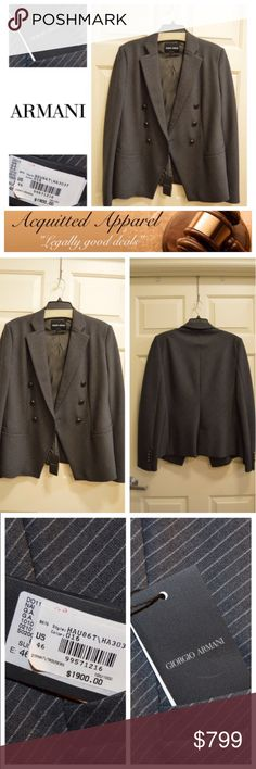 🆕 Armani Grey Pinstripe Blazer $1900 Beautiful grey and light pinstripe Blazer. This blazer is the best one Ive ever bought. i actually have two so im selling my backup to make room in my closet. Retails for $1900! new with tags and comes with certificate of authenticity. please ask any questions. Size 46 which is like a 12/XL us Giorgio Armani Jackets & Coats Blazers