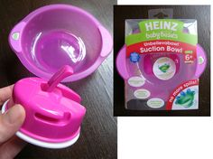 Heinz unbelievabowl suction bowl X 2 To feed baby out of and to let them feed themselves with. Has a really strong separate suction cup that you attach to the high chair table, and a separate bowl that twist on to suction cup, so baby can't throw bowl onto the floor. If you get 2 it makes your life a little easier.
