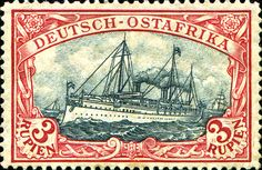 """German East Africa 1905 yacht """"Hohenzollern II"""" 3r [MiNr 39 I A b, Sc 41]  Dark red and green black.  Peace printing.  26:17 Perforations.  Type III frame, Type III center"""