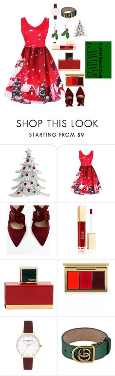 """""""#PolyPresents: Statement Jewelry"""" by earthelglowing on Polyvore featuring Nadri, WithChic, Fendi, MAC Cosmetics, Olivia Burton, Gucci, contestentry and polyPresents"""