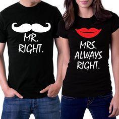 Amazon.com: PicOnTshirt Mr Right Mrs Always Right Black Couple T-shirts: Clothing