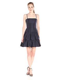 Vera Wang Womens Short Taffetta Cocktail Dress Navy 12 ** For more information, visit image link.