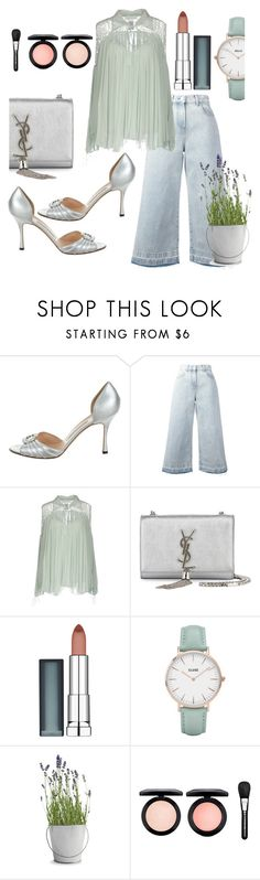 """summer"" by anicagrbesa ❤ liked on Polyvore featuring Manolo Blahnik, MSGM, Chloé, Yves Saint Laurent, Maybelline, CLUSE, Potting Shed Creations and MAC Cosmetics"
