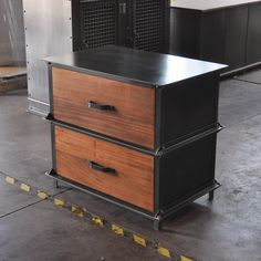 Custom Ellis storage/filing cabinet, with mahogany faces, by Vintage Industrial Furniture in Phoenix