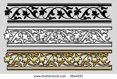 Seamless Victorian Style Design Elements (Vector)
