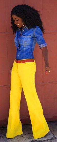 #colorblock #spring #outfitideas #womens #fashion | Yellow Wide Leg Poplin Pants | Style Pantry