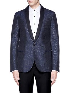 LANVIN Slim Fit Metallic Jacquard Tuxedo Blazer. #lanvin #cloth #blazer