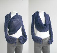 Long Sleeve Navy Blue  Bolero  Scarf  Shawl  Neckwarmer gift for Women Fashion Mom Under100 Christmas Gift