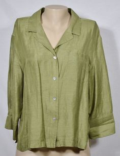 CHICO'S DESIGN Green Linen/Silk Blend Shirt 2 3/4 Sleeves Unlined Button-Front #Chicos #Blouse #Casual