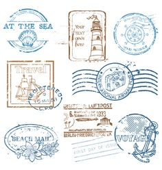 Set of retro sea stamps vector 847097 - by woodhouse84 on VectorStock®