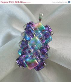 Sale Sale Sale Dichroic Fused Glass Pendant  by GalaxyGlassStudio, $21.60 <3