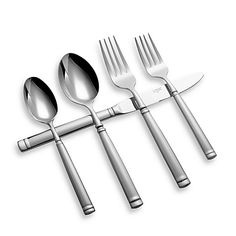 Stainless steel forged flatware is generously-sized and looks great with many dinnerware patterns. The simple raised bands at the bottom and top of the handles lend just the right amount of adornment.