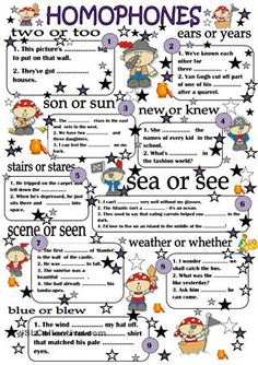 Dear friends, this is an easy ws for homophones, have fun at your lessons;) Good luck;) Nati <br />  - ESL worksheets