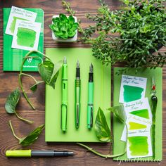 Pantone Color of the Year 2017 is Greenery! Here are a bunch of cheerful refreshing and revitalizing green fountain pen products to match.
