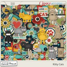 Digital Scrapbook Kit, Kitty Cats by Connie Prince