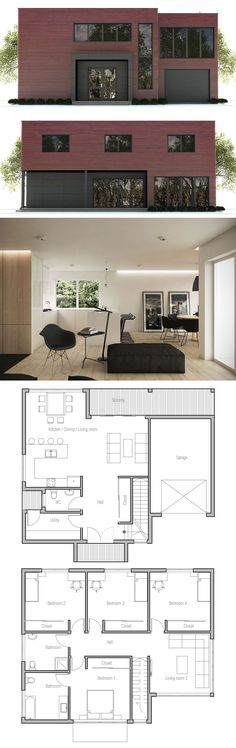 Une #maison #originale et #contemporaine  http://www.m-habitat.fr/plans-types-de-maisons/plans-de-maisons/le-plan-de-construction-d-une-maison-2483_A