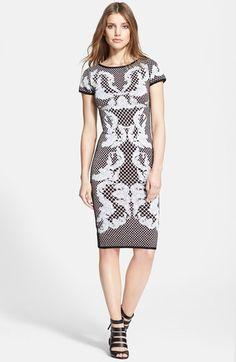 23471d865f8 Herve Leger Short Sleeve Jacquard Dress