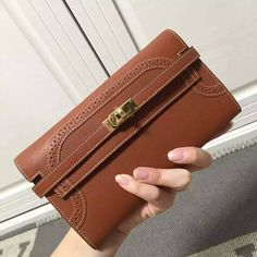 Free Shipping!2016 Hermes Outlet With Free Shipping-Hermes Kelly Clutch in Brown Lace Swift Leather Gold with White Stitching