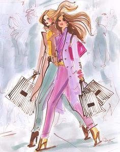The only thing better than shopping on Fifth Avenue in NYC? Shopping on Fifth Avenue with your best friend and your brown and white striped Bendel bags in hand.