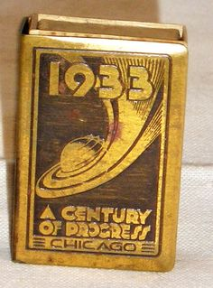 World Expo Chicago brass matchbox case.