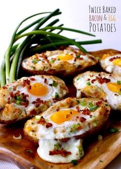 """Top saved Pin: Twice baked bacon & egg potatoes. Get your eggs and potatoes all in one bite! Great """"brinner"""" idea."""
