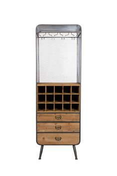 Dutchbone Vino cabinet is essential for every wine lover | Ideal for storing bottles of wine and wine glasses | With mesh back panel