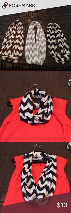 Infinity chevron scarves 3 scarves in great condition! Only wore blk one a few times. Accessories Scarves & Wraps