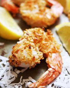 Baked Coconut Shrimp Day Fix] - These crunchy, lightly breaded shrimp pack so much delicious flavor! They are so addicting - I could eat them for every meal! Healthy Coconut Shrimp, Coconut Shrimp Recipes, Fish Recipes, Seafood Recipes, Cooking Recipes, Healthy Recipes, Healthy Meals, Healthy Food, Yummy Food