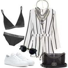 Laid Back Wednesday by jazaar on Polyvore featuring Calvin Klein Underwear, Converse and Chanel