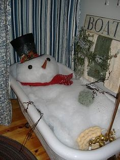 Snowman in the bathtub super cute as a decoration/prank for a home holiday party or even guest room
