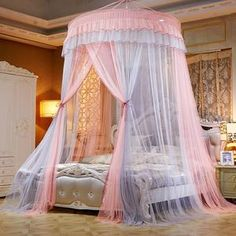 2019 New Elegant Lace Bed Canopy Mosquito Net Dome Hanging Lace Insect Net Encryption Heightening Ceiling Princess Dome Court Princess Carriage Bed, Princess Canopy Bed, Princess Beds, Cheap Canopy, Mosquito Net Canopy, Bed Net, Lace Bedding, Pink Bedding, Canopy Design