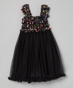 Take a look at this Black Halloween Ruffle Chiffon Dress - Infant, Toddler & Girls by Royal Gem on #zulily today!