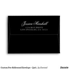 Custom Pre-Addressed Envelope - (5x7 - A7) Black Black And White Theme, Custom Printed Envelopes, Envelope Sizes, Wedding Envelopes, Addressing Envelopes, Thank You Notes, Stationery, Greeting Cards, Invitations