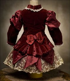 Antique Maroon SIlk & Velvet Dress for Jumeau, Bru, Steiner, French bebe Doll Antique dolls at Respectfulbear.com