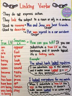 Verbs Anchor Chart Linking Verbs Anchor Chart for Anchors Away Monday {includes a free matching worksheet!}Linking Verbs Anchor Chart for Anchors Away Monday {includes a free matching worksheet! Teaching English Grammar, Grammar Lessons, Teaching Language Arts, English Writing, Teaching Writing, Writing Skills, Basic Grammar, Teaching Spanish, Grammar Anchor Charts