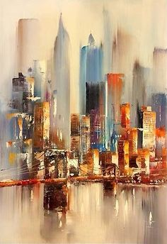 Painting Watercolor City Watercolour 54 Ideas For 2019 Skyline Painting, Cityscape Art, City Painting, New York Painting, Urban Painting, Oil Painting Abstract, Abstract City, Abstract Canvas, Canvas Art