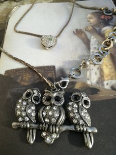 owl necklace pendant, animal jewelry, vintage style layered, boho reworked jewellery, upcycled, bird necklace, unusual, gift for her, Vintage Owl, Vintage Style, Vintage Items, Vintage Jewelry, Vintage Fashion, Bird Jewelry, Animal Jewelry, Bird Necklace, Pendant Necklace
