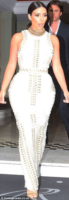 In good company: Kim was seen leaving her hotel with friend Jonathan Cheban. Kardashian Style, Kardashian Jenner, Jonathan Cheban, Jenners, Skin Tight, White Style, Her Style, Slay, Dress Making