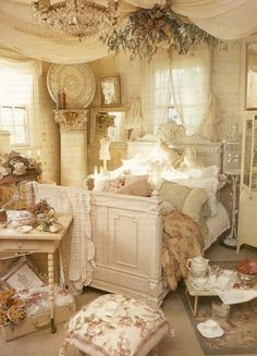 """This bedroom would make me never want to come out, The entire palette seems to be made from a dream of sorts, The label """"Shabby chic"""" leaves me to wonder just what about this could be considered SHABBY, whereas I see an extremely comfortable romantic dream spot"""