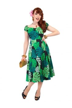 Collectif Mainline Dolores Tahiti Palm Print Doll Dress - Collectif Mainline from Collectif UK