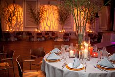 I love this color scheme and simple set up for a bar mitzvah. Leaves lots of room for dancing!